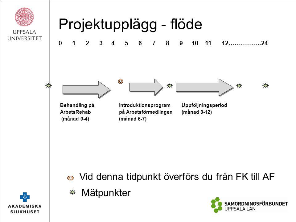 Behandling på ArbetsRehab (månad 0-4) Introduktionsprogram på Arbetsförmedlingen (månad 5-7) Uppföljningsperiod (månad 8-12) 0 1 2 3 4 5 6 7 8 9 10 11 12…………….24 Vid denna tidpunkt överförs du från FK till AF Mätpunkter Projektupplägg - flöde