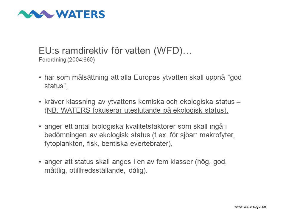 www.waters.gu.se Utveckling av indikatorer: Inlandsvatten KvalitetsfaktorIndikatorer BGPåverkanWATERSAnsvarig Fytoplankton (sjöar) biomassa, %cyanobakt., TPI, (chl) Näringsämnen  cyanobakt.