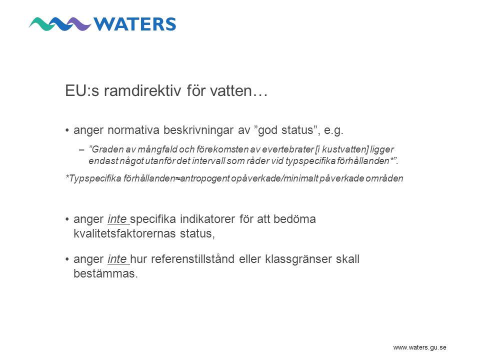 www.waters.gu.se Utveckling av indikatorer: Inlandsvatten KvalitetsfaktorIndikatorer BGPåverkanWATERSAnsvarig Bentiska evertebrater (sjöar) ASPT (litoral) MILA (litoral) BQI (profundal) Allmän påverkan Surhet Näringspåverkan  habitat specifik respons,  alt.