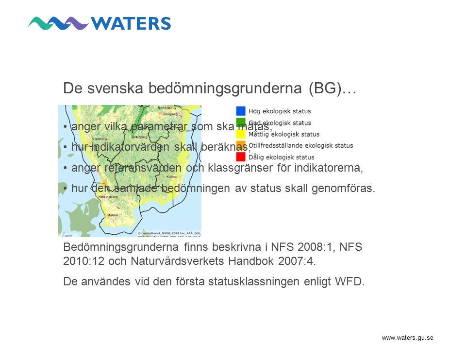 www.waters.gu.se Brister med BG har uppmärksammats… i samband med första statusklassningen av svenska ytvatten, i utvärderingar som genomförts av enskilda länsstyrelser, i den interkalibreringsprocess som Sverige deltar i inom EU.