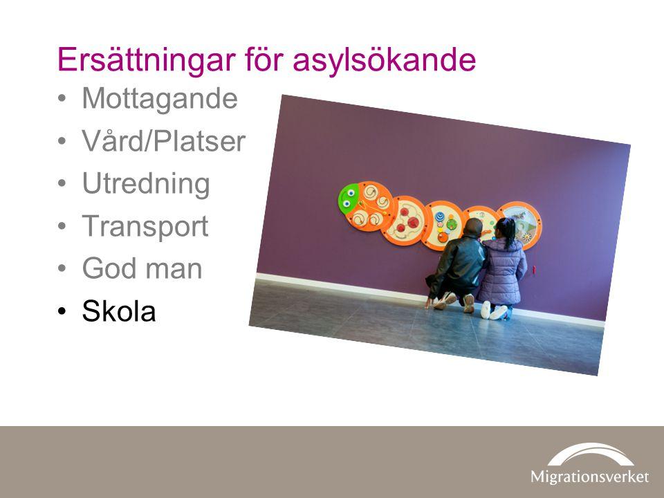 Mottagande Vård/Platser Utredning Transport God man Skola Ersättningar för asylsökande