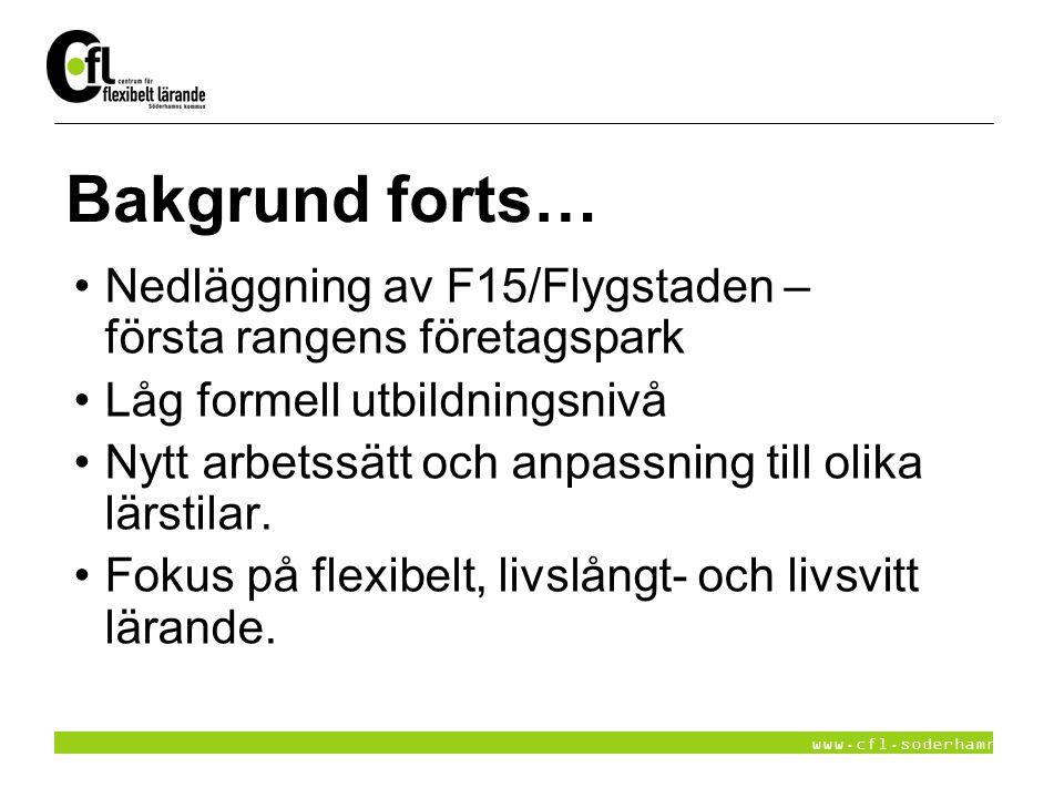 www.cfl.soderhamn.se Bakgrund forts… Nedläggning av F15/Flygstaden – första rangens företagspark Låg formell utbildningsnivå Nytt arbetssätt och anpas
