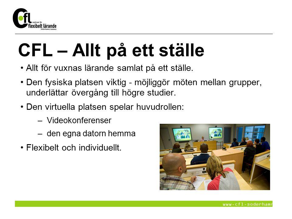 www.cfl.soderhamn.se CFL – Allt på ett ställe Allt för vuxnas lärande samlat på ett ställe. Den fysiska platsen viktig - möjliggör möten mellan gruppe