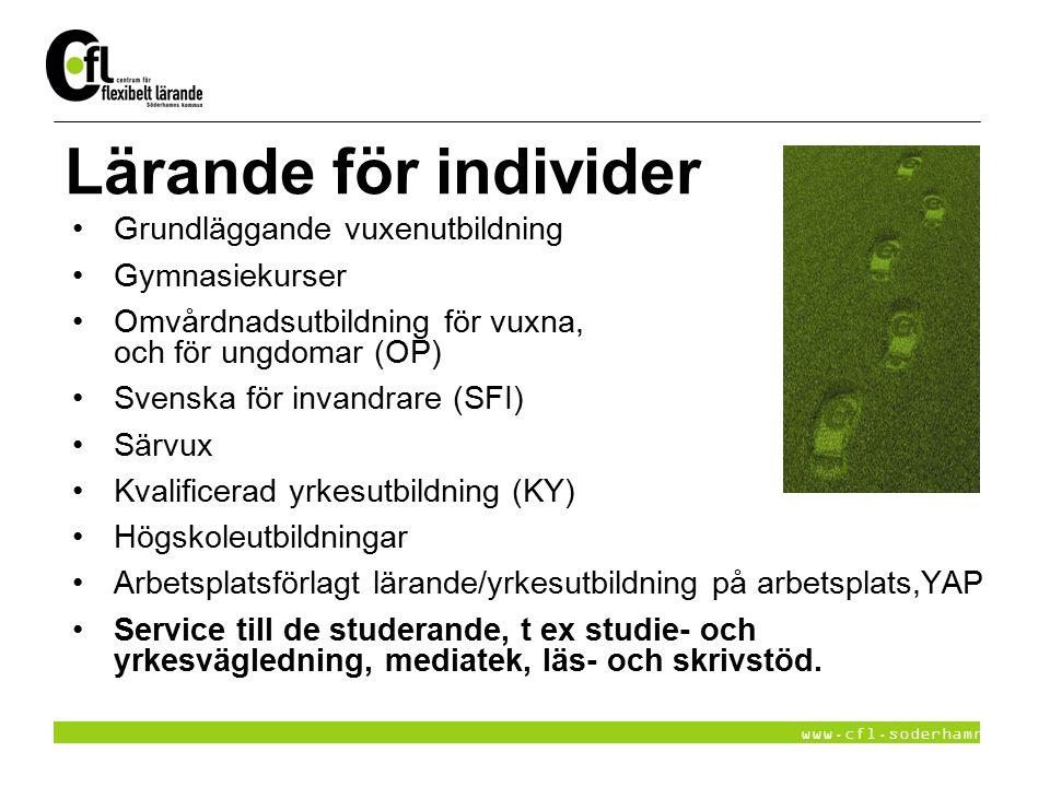 www.cfl.soderhamn.se Lärande för individer Grundläggande vuxenutbildning Gymnasiekurser Omvårdnadsutbildning för vuxna, och för ungdomar (OP) Svenska