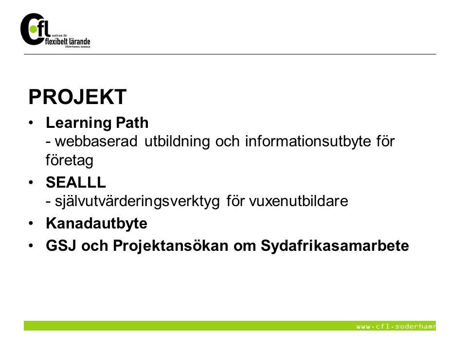 www.cfl.soderhamn.se PROJEKT Learning Path - webbaserad utbildning och informationsutbyte för företag SEALLL - självutvärderingsverktyg för vuxenutbil