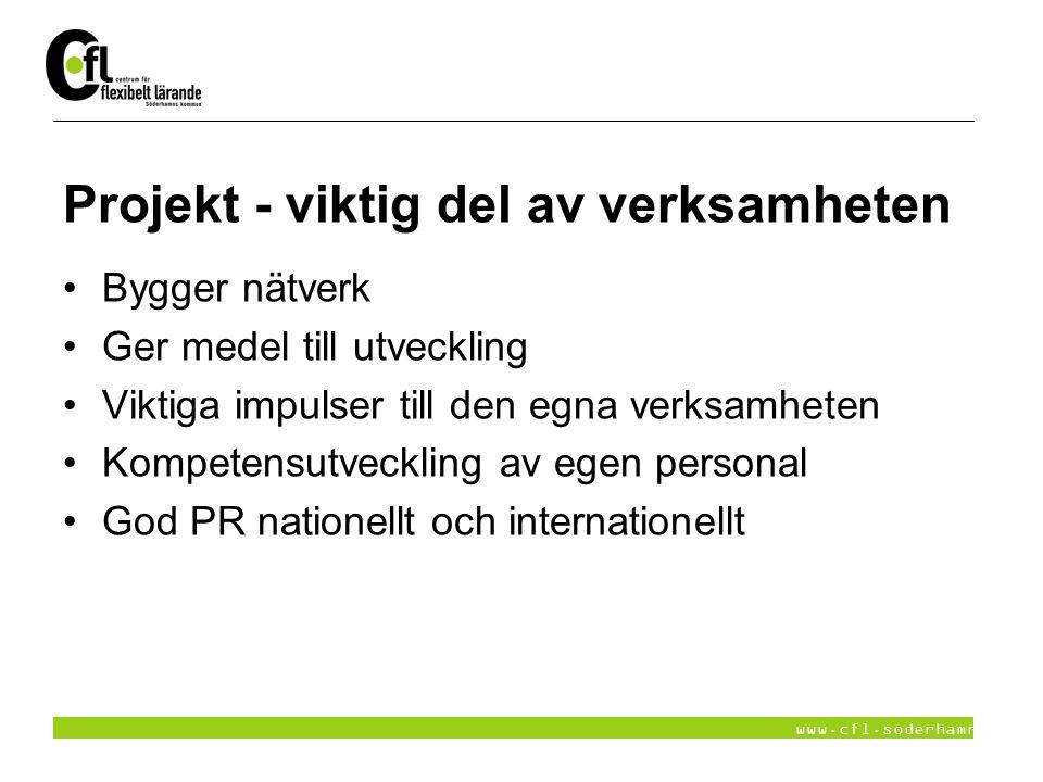 www.cfl.soderhamn.se Projekt - viktig del av verksamheten Bygger nätverk Ger medel till utveckling Viktiga impulser till den egna verksamheten Kompete