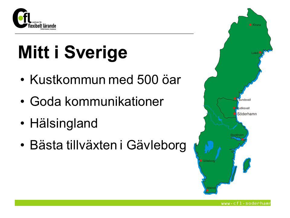 www.cfl.soderhamn.se Lärcentra i Hälsingland 6 kommuner, ekonomisk förening: Söderhamn, Bollnäs, Ovanåker, Ljusdal, Nordanstig och Hudiksvall Nitus - högskoleutbildning Gymnasieutbildningar-KY-utbildningar Gemensamma projekt