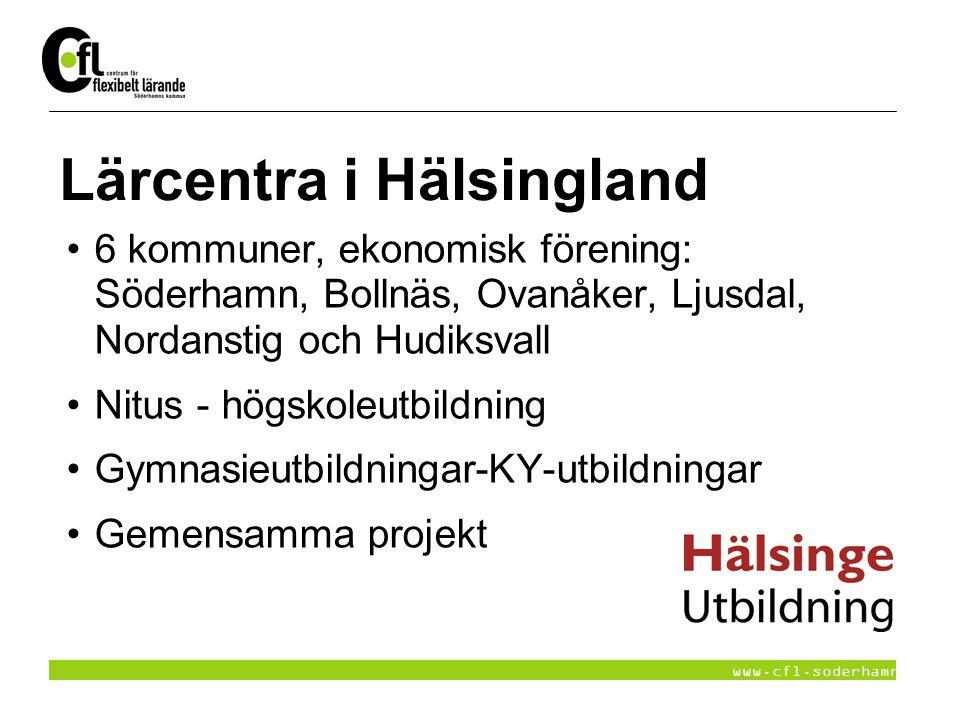 www.cfl.soderhamn.se Lärcentra i Hälsingland 6 kommuner, ekonomisk förening: Söderhamn, Bollnäs, Ovanåker, Ljusdal, Nordanstig och Hudiksvall Nitus -