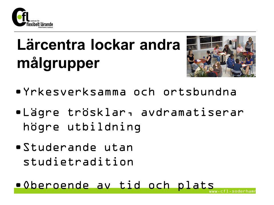 www.cfl.soderhamn.se Lärcentra lockar andra målgrupper Yrkesverksamma och ortsbundna Lägre trösklar, avdramatiserar högre utbildning Studerande utan s
