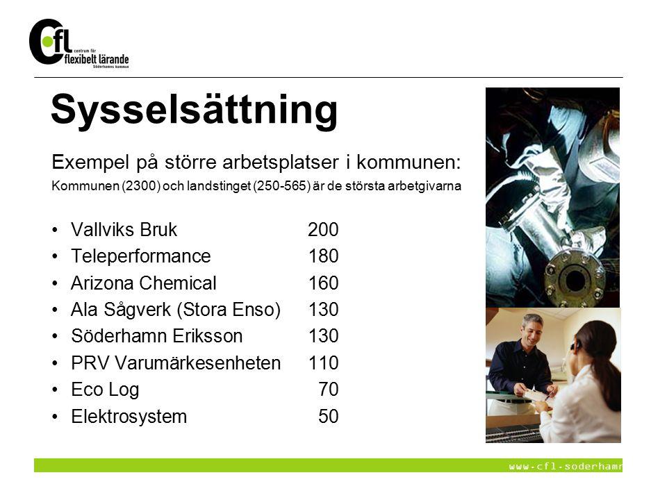 www.cfl.soderhamn.se Sysselsättning Exempel på större arbetsplatser i kommunen: Kommunen (2300) och landstinget (250-565) är de största arbetgivarna V