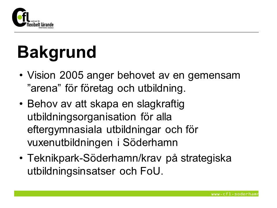 """www.cfl.soderhamn.se Bakgrund Vision 2005 anger behovet av en gemensam """"arena"""" för företag och utbildning. Behov av att skapa en slagkraftig utbildnin"""