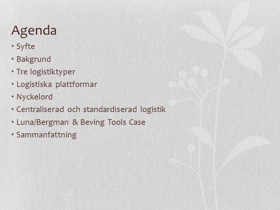 Agenda Syfte Bakgrund Tre logistiktyper Logistiska plattformar Nyckelord Centraliserad och standardiserad logistik Luna/Bergman & Beving Tools Case Sammanfattning