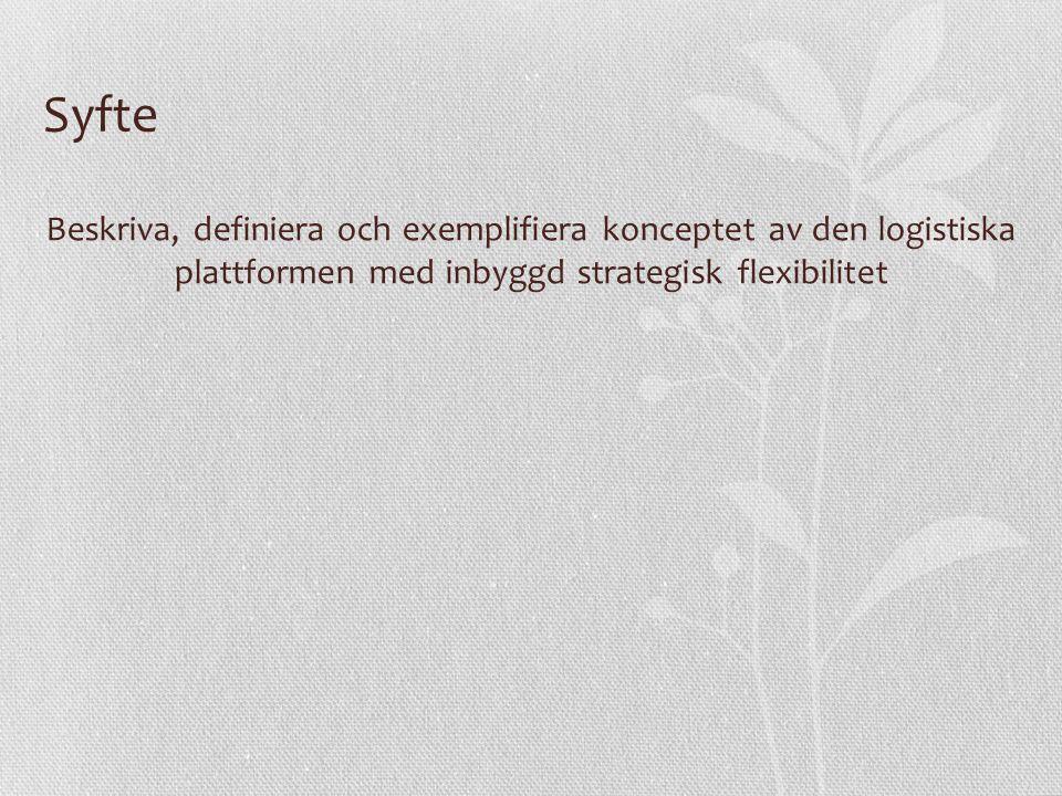 Syfte Beskriva, definiera och exemplifiera konceptet av den logistiska plattformen med inbyggd strategisk flexibilitet