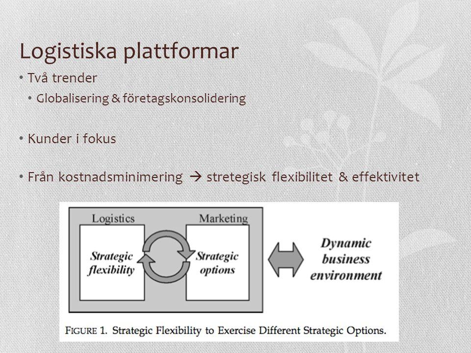 Logistiska plattformar Två trender Globalisering & företagskonsolidering Kunder i fokus Från kostnadsminimering  stretegisk flexibilitet & effektivitet