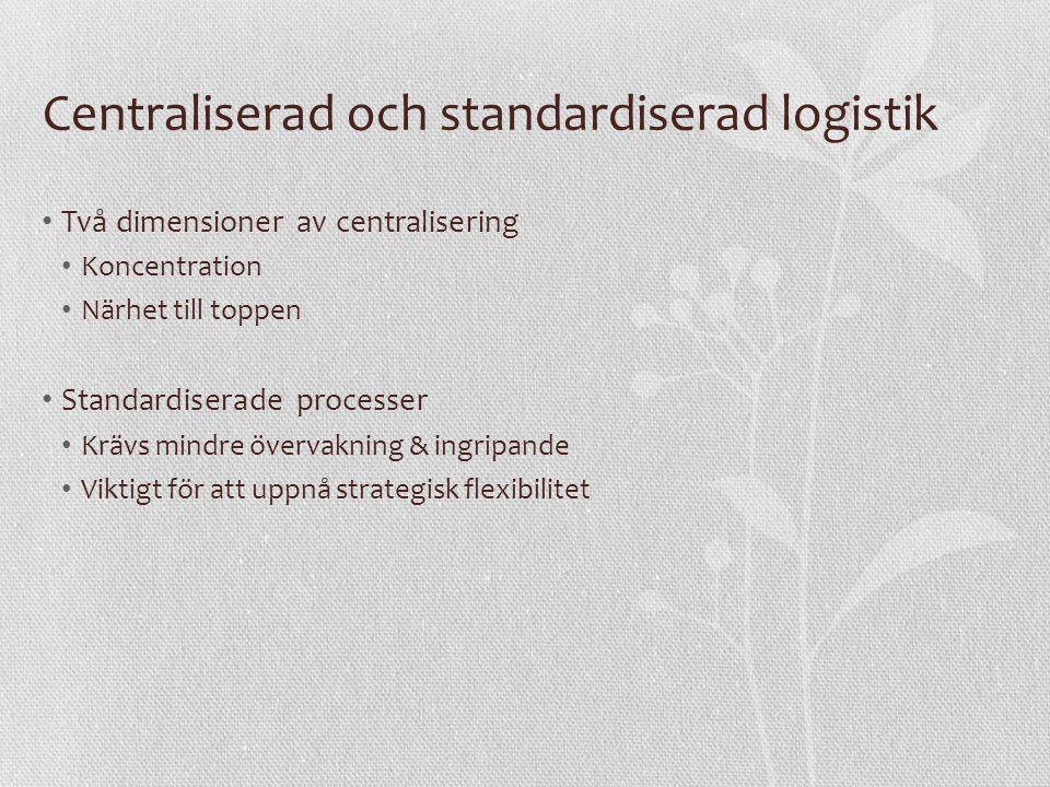 Centraliserad och standardiserad logistik Två dimensioner av centralisering Koncentration Närhet till toppen Standardiserade processer Krävs mindre övervakning & ingripande Viktigt för att uppnå strategisk flexibilitet