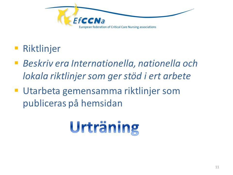 Riktlinjer  Beskriv era Internationella, nationella och lokala riktlinjer som ger stöd i ert arbete  Utarbeta gemensamma riktlinjer som publiceras