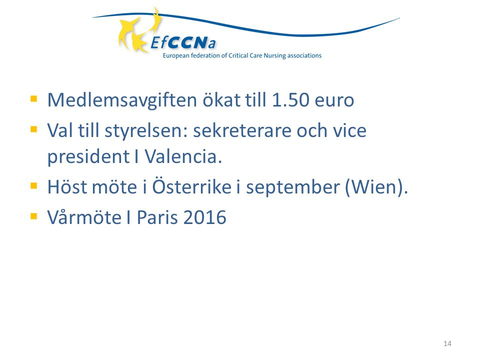  Medlemsavgiften ökat till 1.50 euro  Val till styrelsen: sekreterare och vice president I Valencia.  Höst möte i Österrike i september (Wien).  V