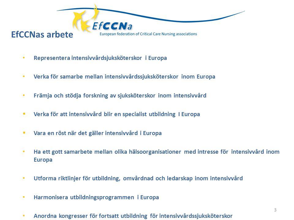 4 Projektgrupper Utbildning/Utbytesprogr am Kongresser Forskning Arbetssituation Riktlinjer Politisk betydelse Ledarskap Strategier för ett enat Europa när det gäller intensivvård EfCCNas Arbete