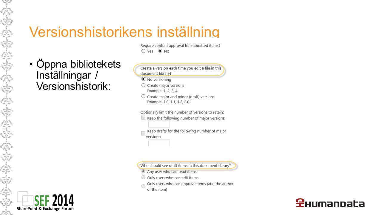 Versionshistorikens inställning Öppna bibliotekets Inställningar / Versionshistorik:
