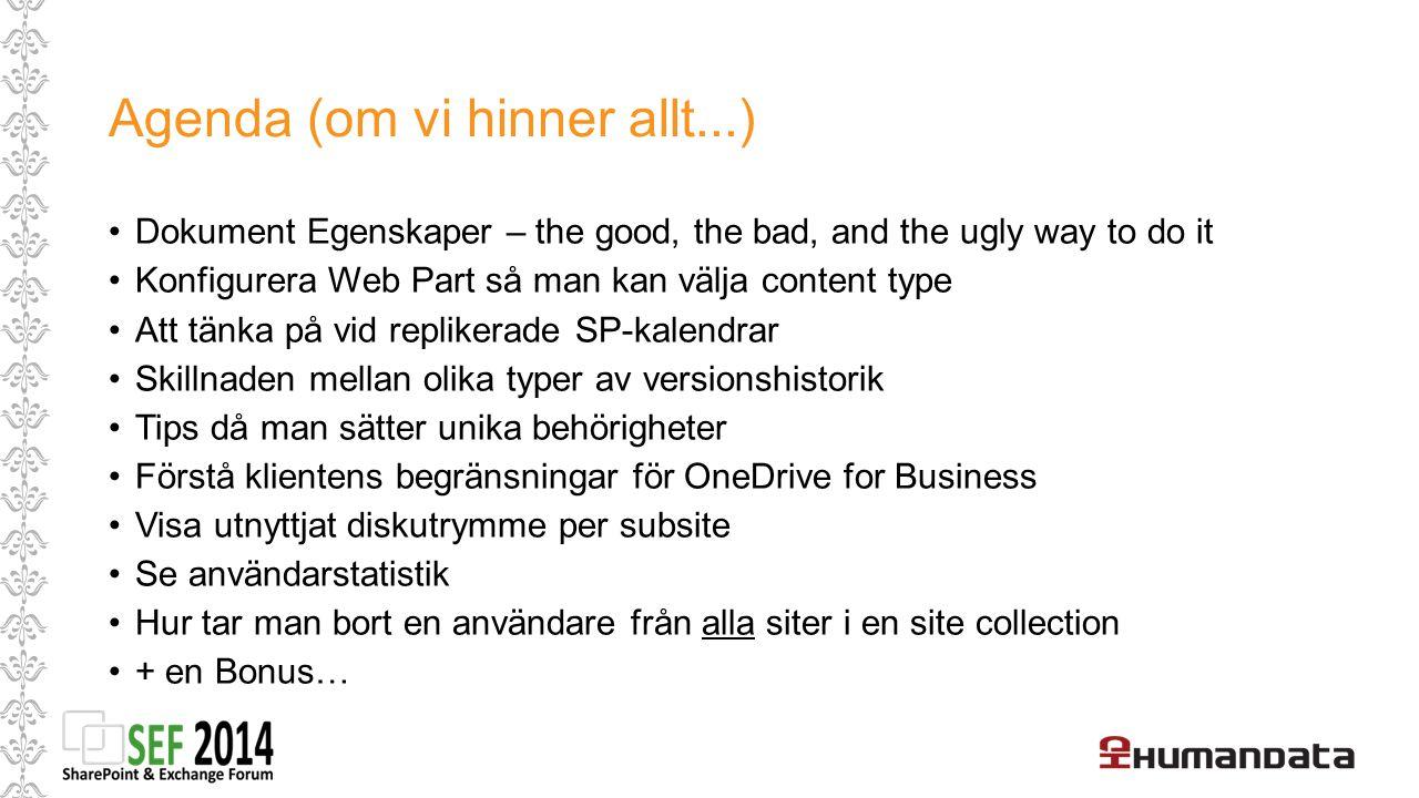Tips för bibliotekens web parts – visa mer funktioner Ex: Ett biblioteket kan ha flera content typer Alltså kan flera olika typer ligga i samma bibliotek men ändå ha olika innehåll och även dokumentegenskaper – Du ser dem så här.