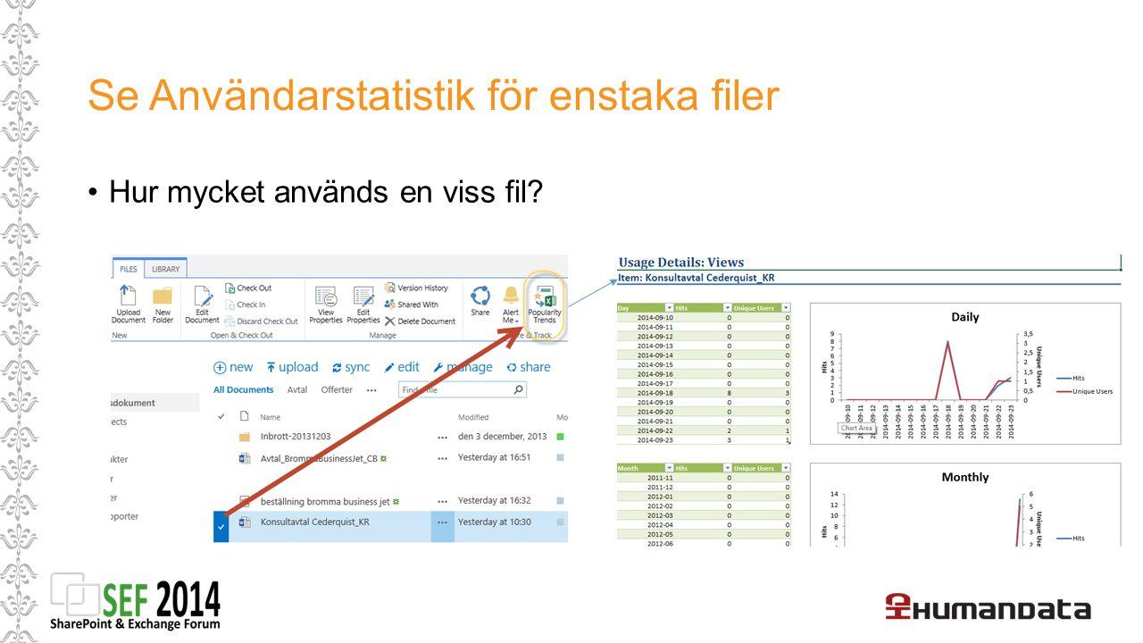 Se Användarstatistik för enstaka filer Hur mycket används en viss fil?