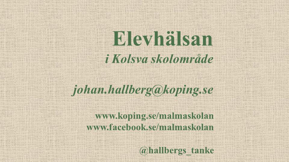 Elevhälsan i Kolsva skolområde johan.hallberg@koping.se www.koping.se/malmaskolan www.facebook.se/malmaskolan @hallbergs_tanke