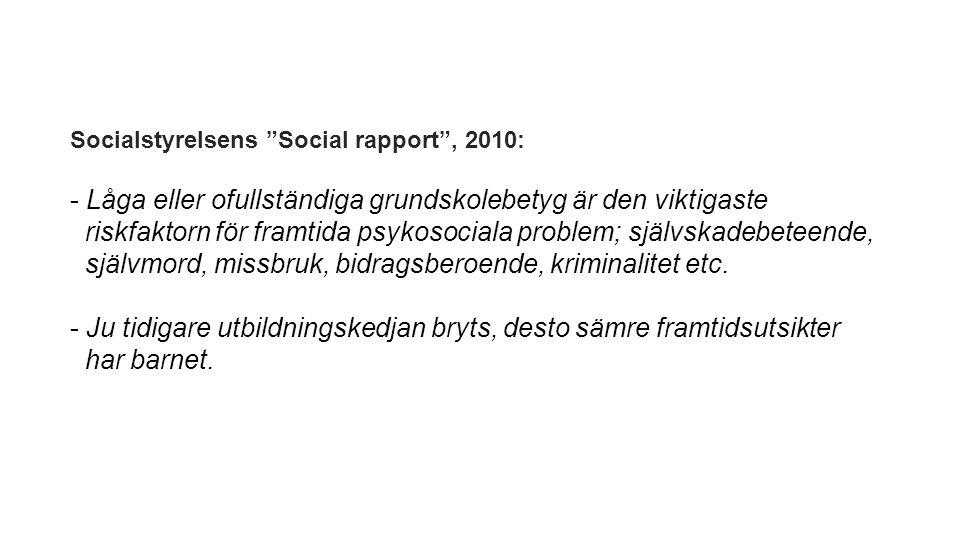 Socialstyrelsens Social rapport , 2010: - Låga eller ofullständiga grundskolebetyg är den viktigaste riskfaktorn för framtida psykosociala problem; självskadebeteende, självmord, missbruk, bidragsberoende, kriminalitet etc.