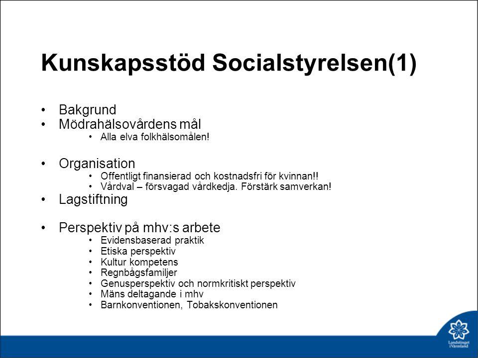 Kunskapsstöd Socialstyrelsen(1) Bakgrund Mödrahälsovårdens mål Alla elva folkhälsomålen.