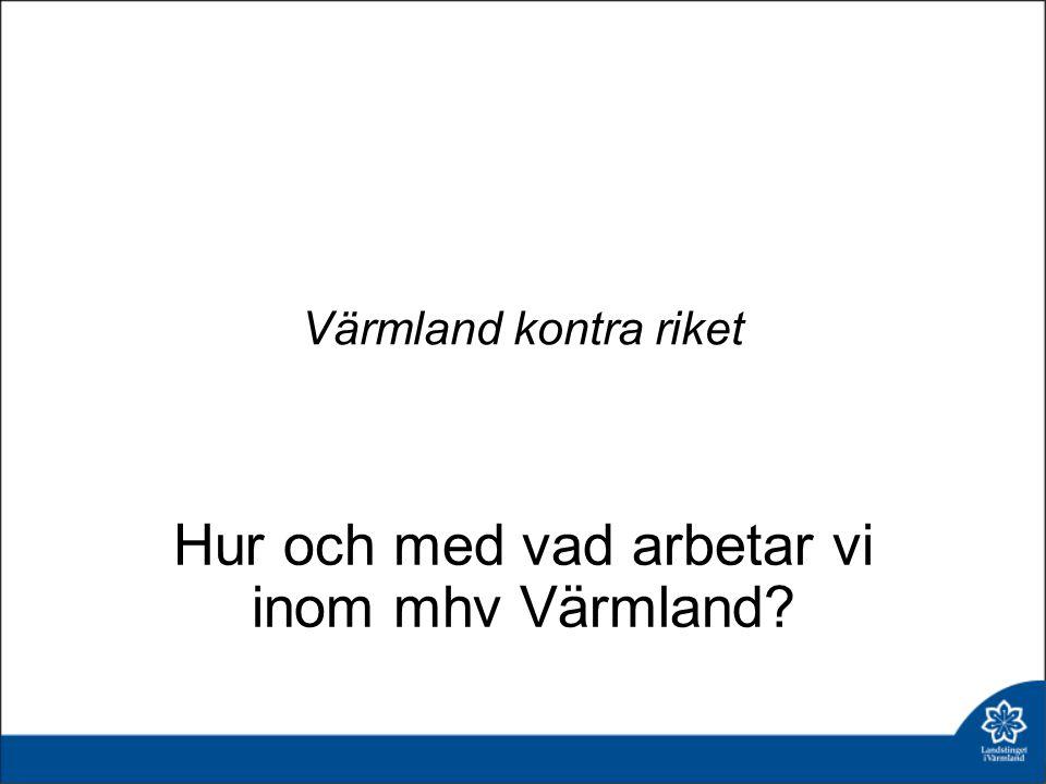 Värmland kontra riket Hur och med vad arbetar vi inom mhv Värmland