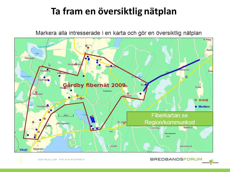 Ta fram en översiktlig nätplan Markera alla intresserade i en karta och gör en översiktlig nätplan Fiberkartan.se Region/kommunkod EXEMPELBILDER FÖR B