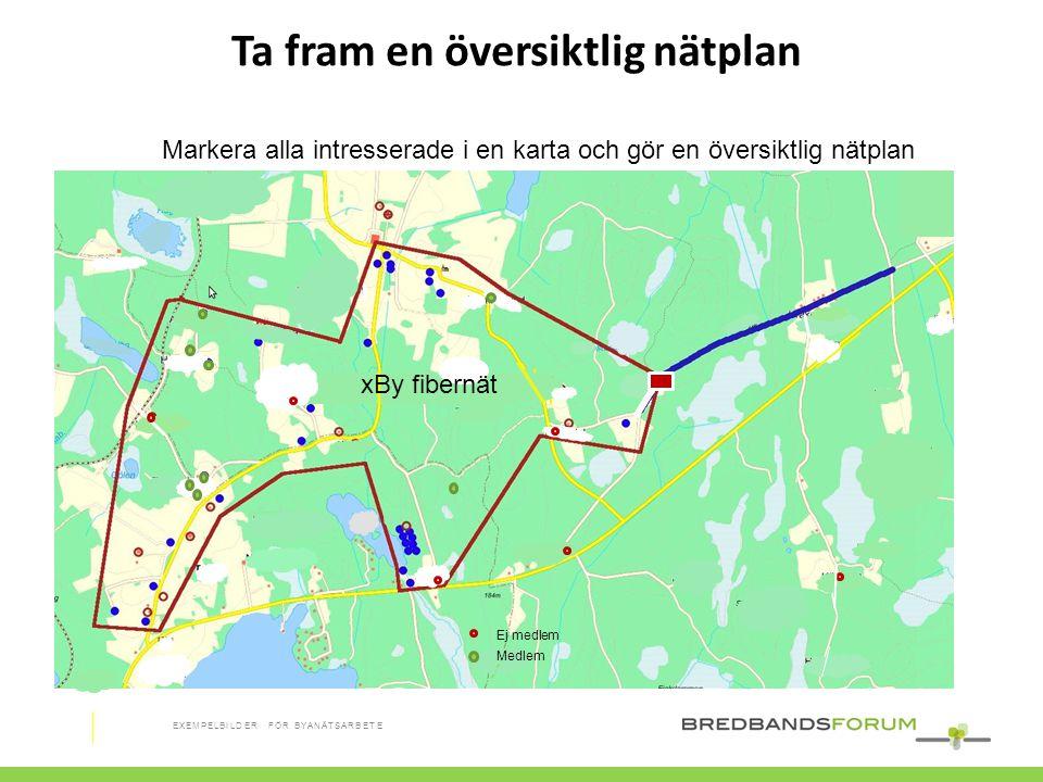 Ta fram en översiktlig nätplan Markera alla intresserade i en karta och gör en översiktlig nätplan xBy fibernät Ej medlem Medlem EXEMPELBILDER FÖR BYA