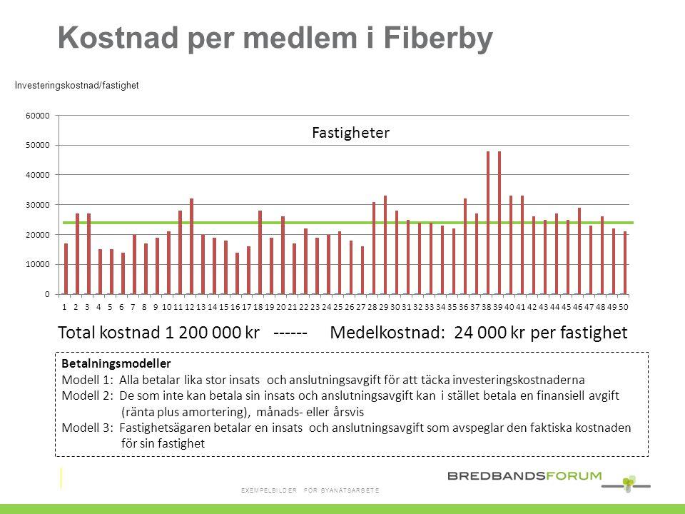 Total kostnad 1 200 000 kr ------ Medelkostnad: 24 000 kr per fastighet Fastigheter Kostnad per medlem i Fiberby Investeringskostnad/fastighet Betalni