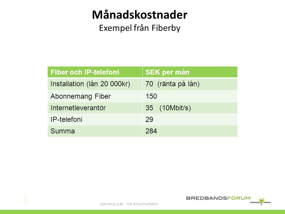 Fiber och IP-telefoniSEK per mån Installation (lån 20 000kr)70 (ränta på lån) Abonnemang Fiber150 Internetleverantör35 (10Mbit/s) IP-telefoni29 Summa2