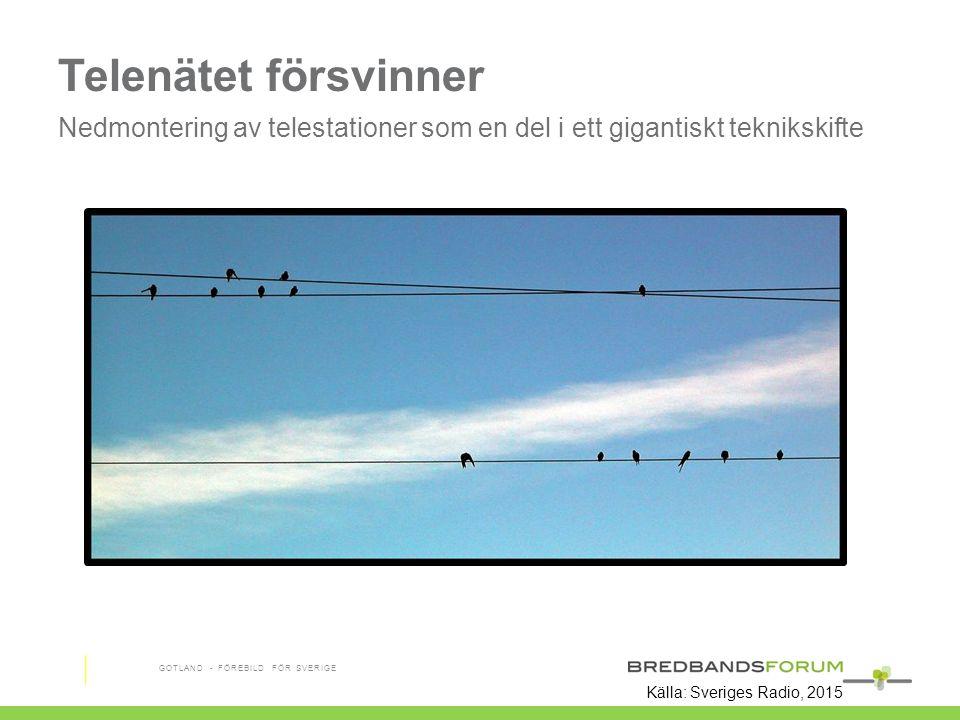 Telenätet försvinner Nedmontering av telestationer som en del i ett gigantiskt teknikskifte GOTLAND - FÖREBILD FÖR SVERIGE Källa: Sveriges Radio, 2015