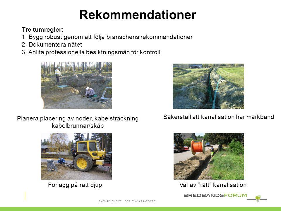 """Planera placering av noder, kabelsträckning kabelbrunnar/skåp Säkerställ att kanalisation har märkband Förlägg på rätt djupVal av """"rätt"""" kanalisation"""