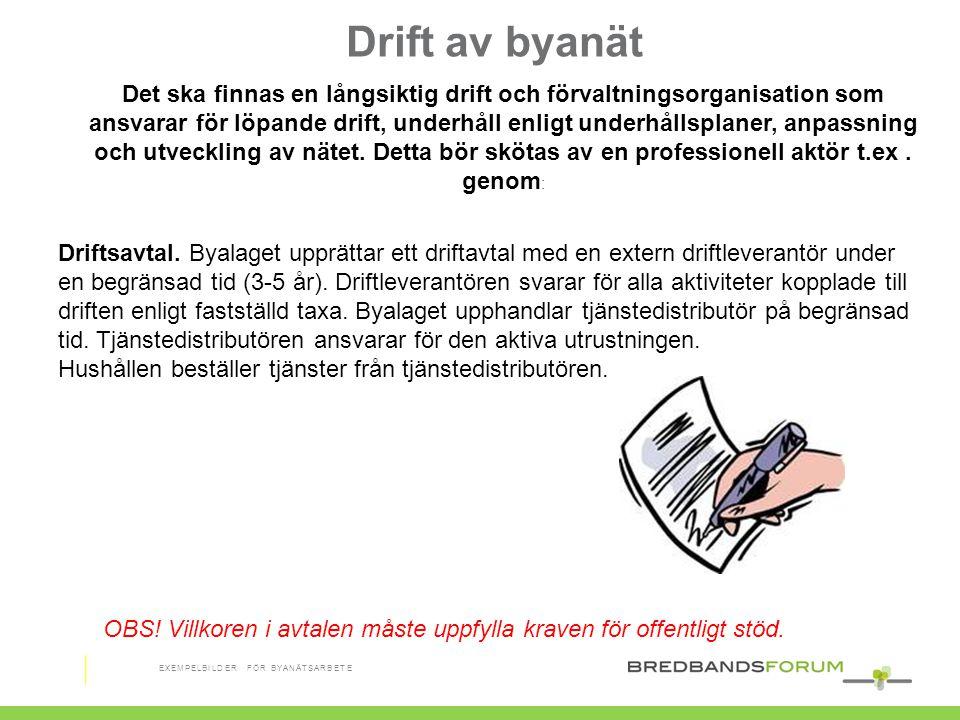 Drift av byanät Driftsavtal. Byalaget upprättar ett driftavtal med en extern driftleverantör under en begränsad tid (3-5 år). Driftleverantören svarar
