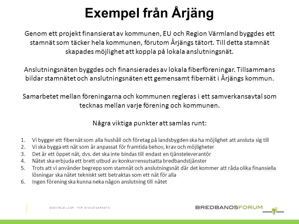 Genom ett projekt finansierat av kommunen, EU och Region Värmland byggdes ett stamnät som täcker hela kommunen, förutom Årjängs tätort. Till detta sta