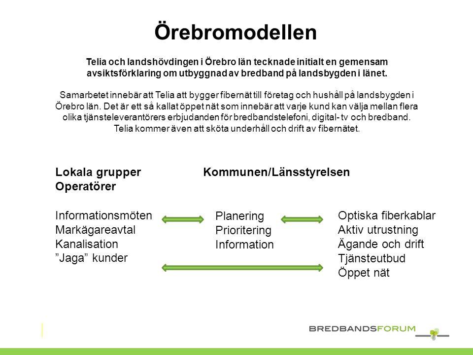"""Lokala grupper Kommunen/Länsstyrelsen Operatörer Informationsmöten Markägareavtal Kanalisation """"Jaga"""" kunder Planering Prioritering Information Optisk"""