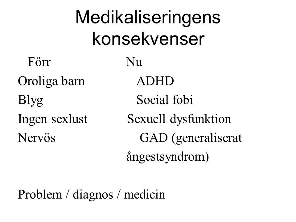 Medikaliseringens konsekvenser Förr Nu Oroliga barnADHD BlygSocial fobi Ingen sexlust Sexuell dysfunktion Nervös GAD (generaliserat ångestsyndrom) Pro