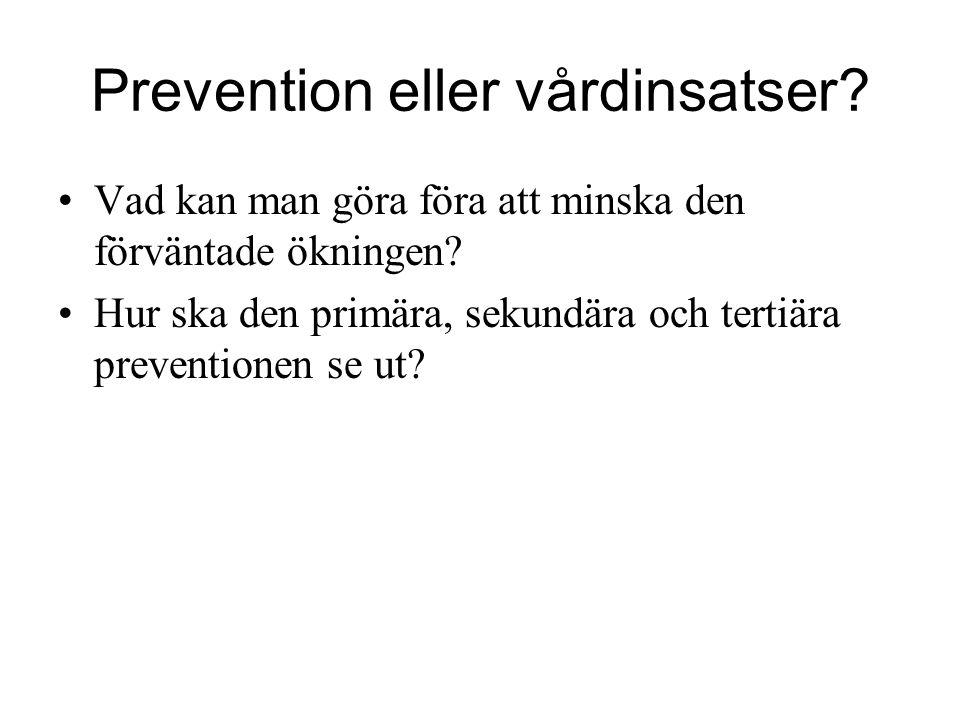 Prevention eller vårdinsatser? Vad kan man göra föra att minska den förväntade ökningen? Hur ska den primära, sekundära och tertiära preventionen se u