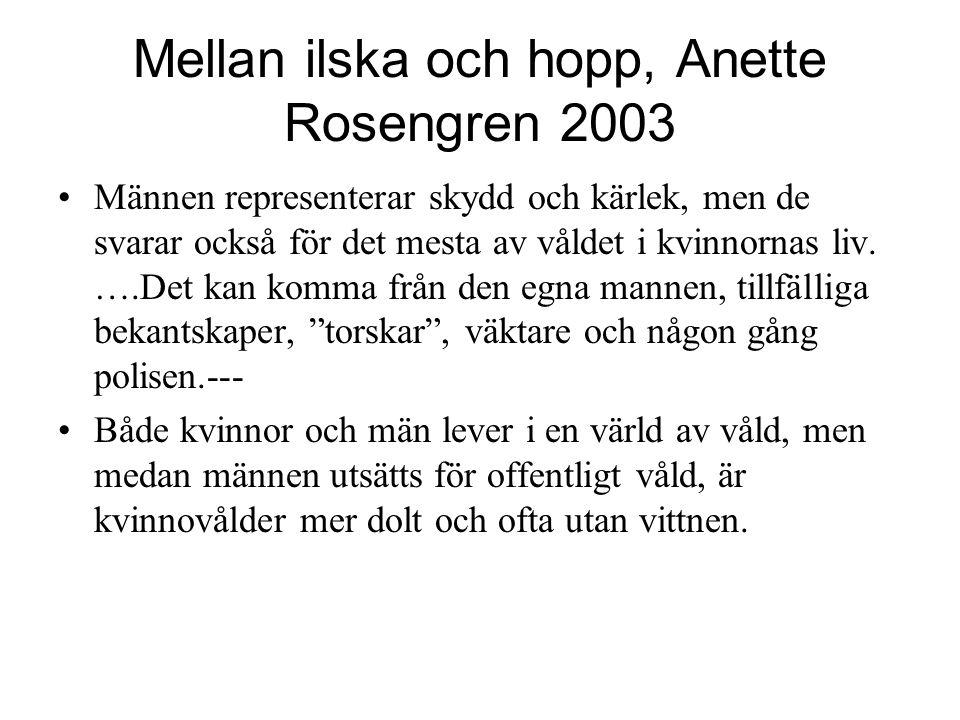 Mellan ilska och hopp, Anette Rosengren 2003 Männen representerar skydd och kärlek, men de svarar också för det mesta av våldet i kvinnornas liv. ….De