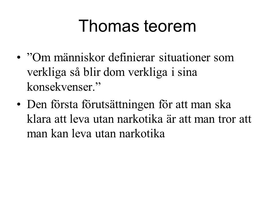 """Thomas teorem """"Om människor definierar situationer som verkliga så blir dom verkliga i sina konsekvenser."""" Den första förutsättningen för att man ska"""