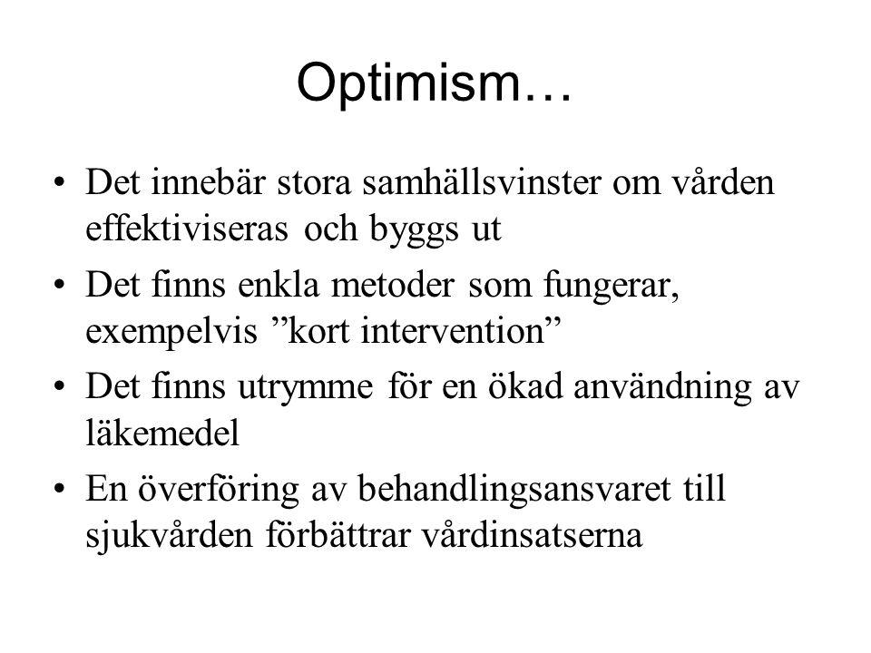 """Optimism… Det innebär stora samhällsvinster om vården effektiviseras och byggs ut Det finns enkla metoder som fungerar, exempelvis """"kort intervention"""""""