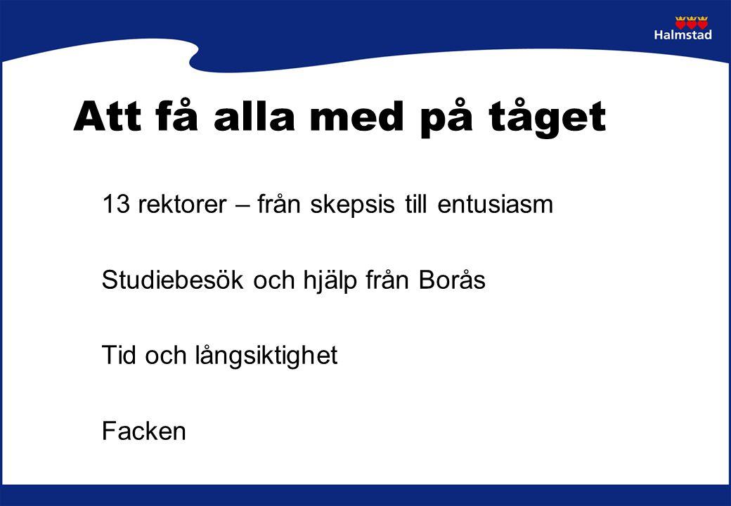 Att få alla med på tåget 13 rektorer – från skepsis till entusiasm Studiebesök och hjälp från Borås Tid och långsiktighet Facken