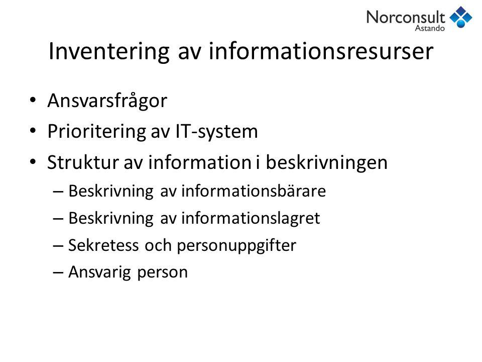 Inventering av informationsresurser Ansvarsfrågor Prioritering av IT-system Struktur av information i beskrivningen – Beskrivning av informationsbärar