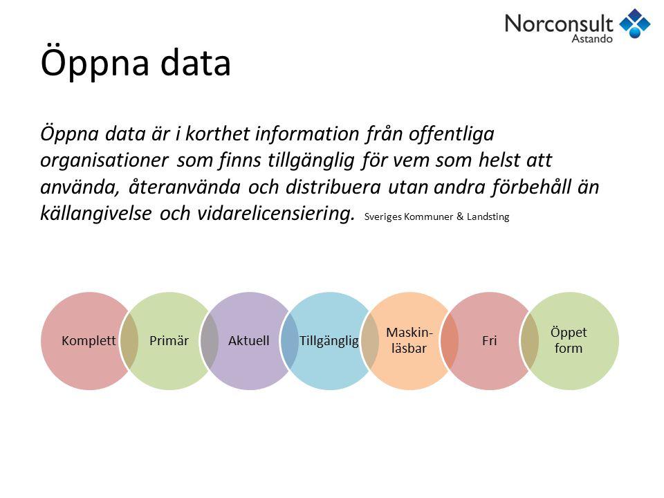 Öppna data Öppna data är i korthet information från offentliga organisationer som finns tillgänglig för vem som helst att använda, återanvända och dis