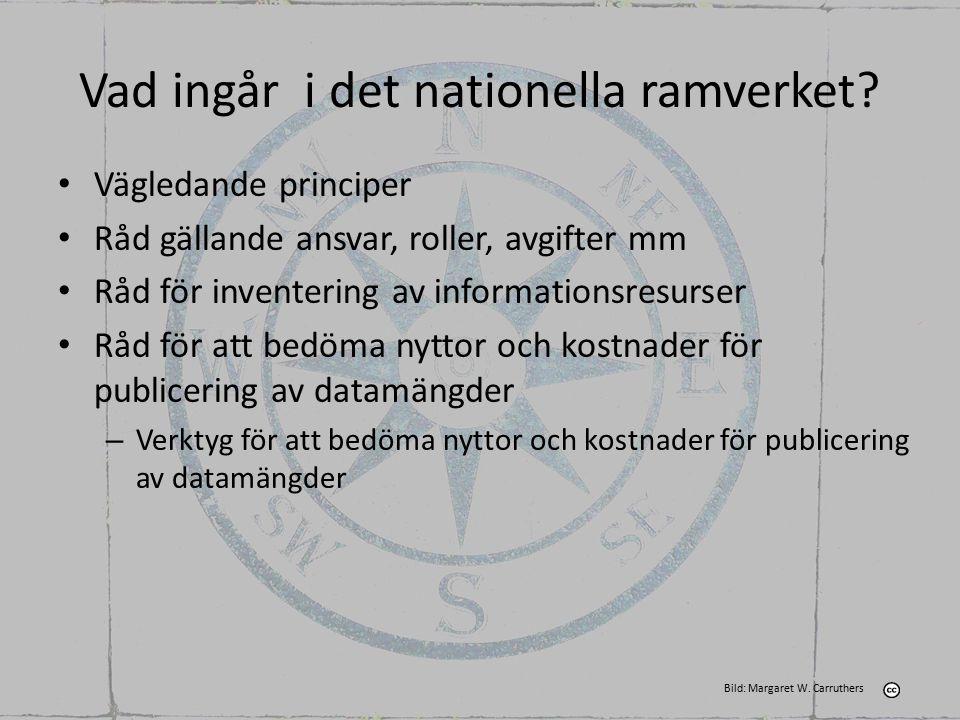 Vad ingår i det nationella ramverket? Vägledande principer Råd gällande ansvar, roller, avgifter mm Råd för inventering av informationsresurser Råd fö