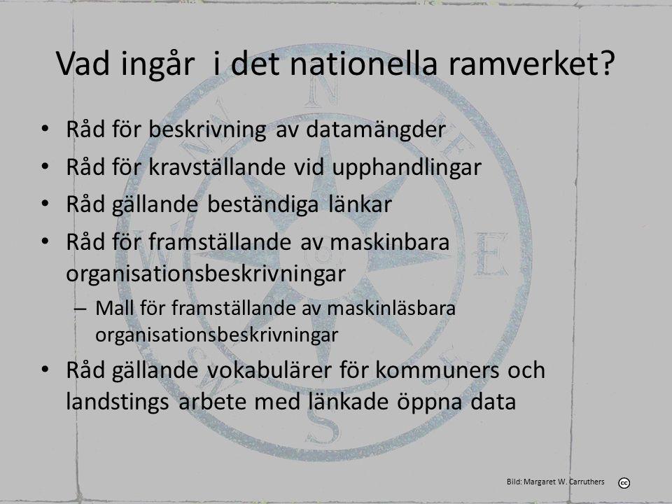 Vad ingår i det nationella ramverket? Råd för beskrivning av datamängder Råd för kravställande vid upphandlingar Råd gällande beständiga länkar Råd fö