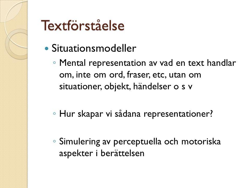 Textförståelse Situationsmodeller ◦ Mental representation av vad en text handlar om, inte om ord, fraser, etc, utan om situationer, objekt, händelser