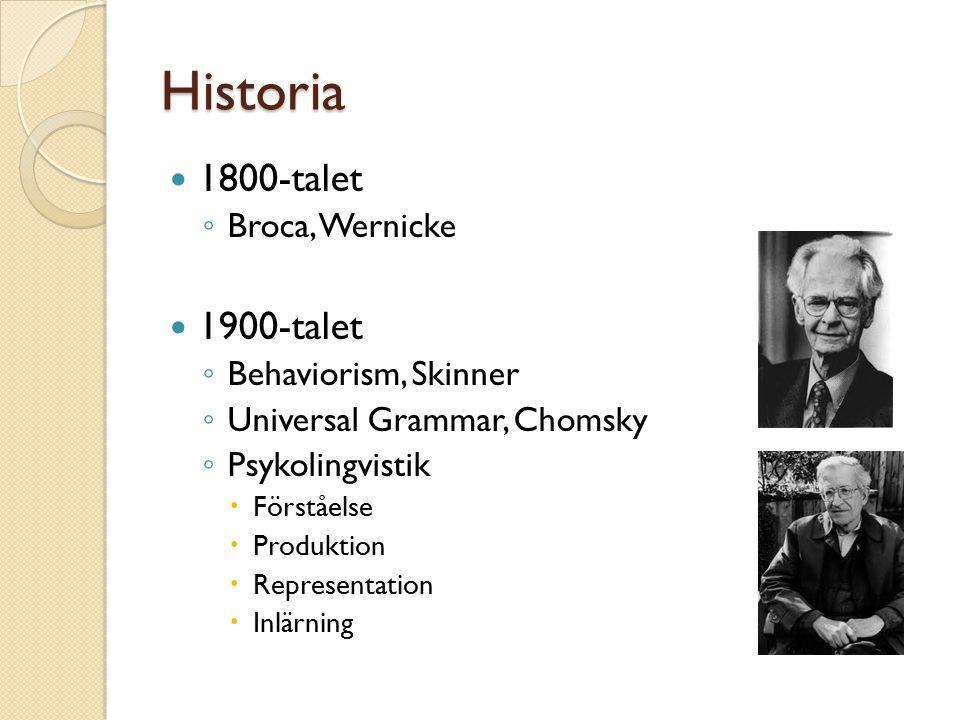 Historia 1800-talet ◦ Broca, Wernicke 1900-talet ◦ Behaviorism, Skinner ◦ Universal Grammar, Chomsky ◦ Psykolingvistik  Förståelse  Produktion  Representation  Inlärning